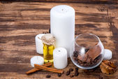 Spa setting on wooden table — Stock Photo