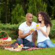 Happy young couple spending time together in park — Stock Photo #50670059
