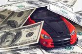 Spor araba ve para — Stok fotoğraf