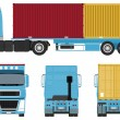 Stock Vector: Container Truck Set