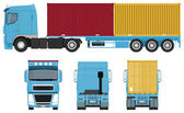 Container Truck Set — Stock Vector