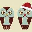 Vector Owls In Red Santa Hat — Stock Vector #16354609