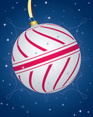 Colorful Cristmas Card With Striped Bauble — Stock Vector