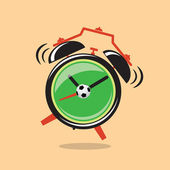 Cartoon green alarm clock with football — 图库矢量图片