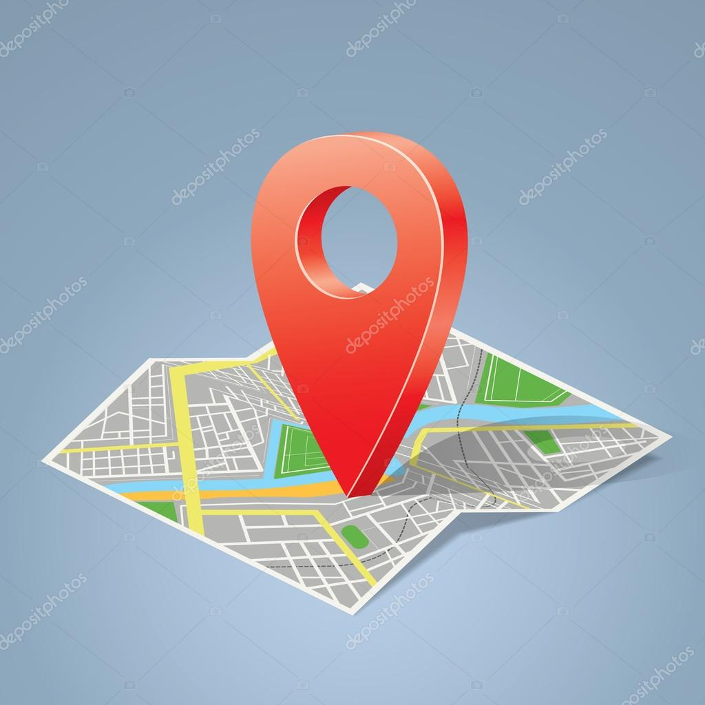 Folded Map With Color Label, Point Marker. Vector illustration. — Stock Vector #16355637