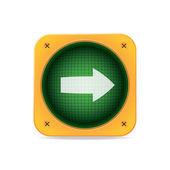 Right Arrow Traffic Light. Vector icon — Stock Vector