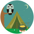 Camping wooden with tent and owl. Vector illustration — Stock Vector