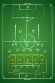 Soccer tactic table. Defensive. Bus tactic. Vector illustration — Stock Vector