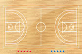 Basketball tactic table with marks. Vector illustration — Stock Vector
