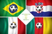 Brasil 2014 grupo a. vector bandera con sombra. copa de palabra. — Vector de stock