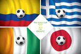 Brazil 2014 group C. Vector flag with shadow. FIFA word cup. — Stock Vector