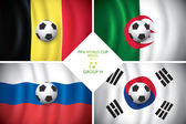 Brazil 2014 group H. Vector flag with shadow. FIFA word cup. — Stock Vector