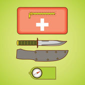 Camping equipment. First aid kit, knife and cover, compass. Vect — Vector de stock