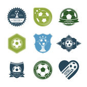 Set of Vintage Soccer Labels With Ball Image. Vector Illustratio — Stock Vector