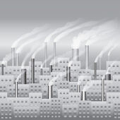 Město s bezproblémovou továrna — Stock vektor