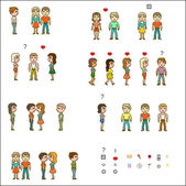 Set people with contact — Stock Vector
