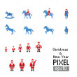 Pixel Santa with blue horse — Stock Vector