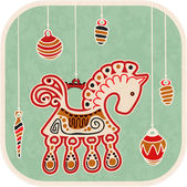 Vintage New Year Card - decoration horse — Stock Vector