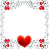Vector background with beautiful red hearts — Stock Vector