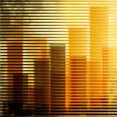 City landscape at daylight through window — Vector de stock