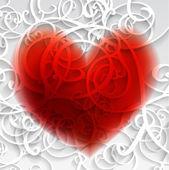 карточка с красным сердцем и шаблон. — Cтоковый вектор