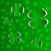 White and green paper cutout clover — Stock Vector
