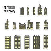 Set of pixel building skyscraper — Stock Vector