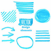 A set of  blue grunge vector strokes — Stockvector