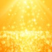 Lights on yellow background bokeh effect. — Vector de stock