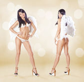 Two cute women angels standing with white wings and lingerie ove — Stock Photo