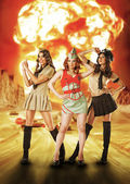 Three military females standing near nuke explosion — Stock Photo