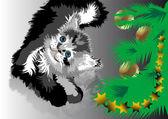 Cat waiting Christmas — Stock Vector