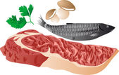 Meat, fish and mushrooms — Stock Vector