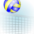 Volleyball over the net — Stock Vector