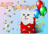 Congratulation with kitten — Stock Vector
