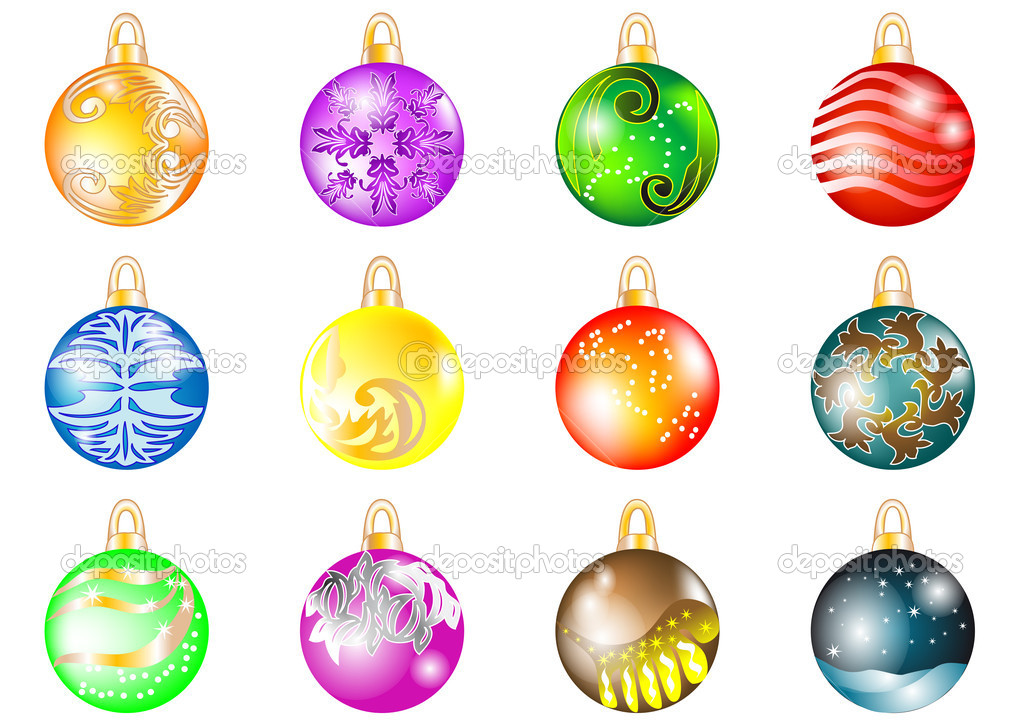 Set of Christmas balls isolated on white — Stock Vector #14731045