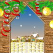 Gate in winter village. Christmas background — Imagens vectoriais em stock