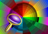 Barevný kruh a lupa — Stock vektor