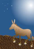 黄金の蹄とロバ — ストックベクタ