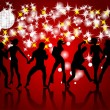 Royalty-Free Stock Imagen vectorial: Disco. Silhouettes of dancing