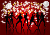 Disco. Silhouettes of dancing — Stock Vector