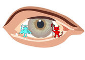 Angel and a demon in the human eye — Vector de stock