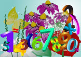 Flowers and numbers — Stock Vector