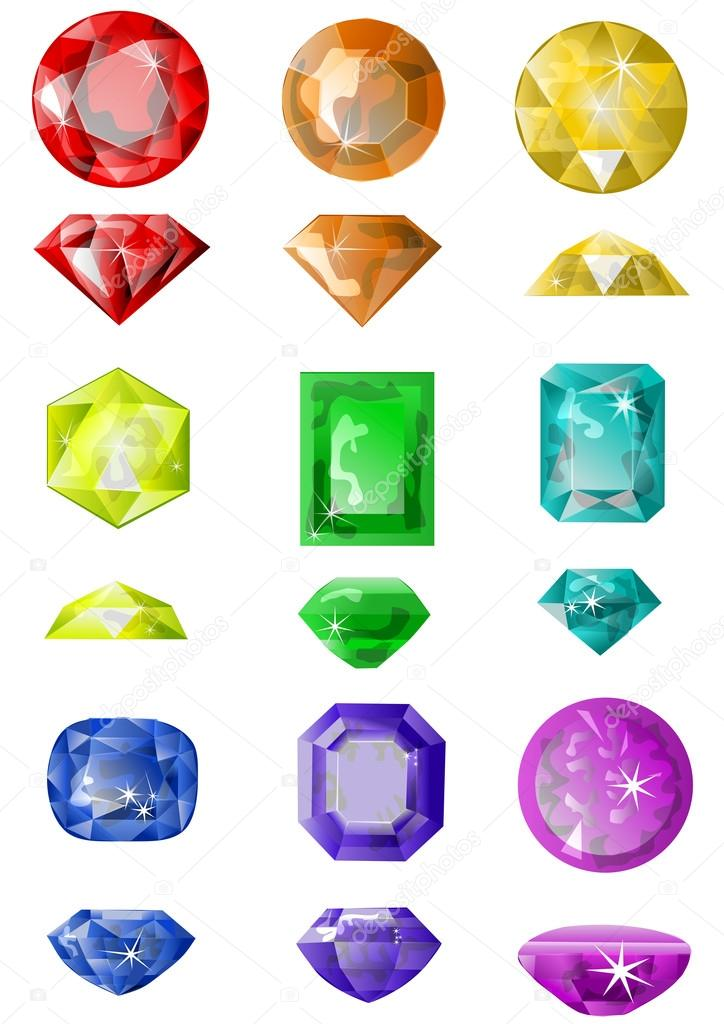 Set of precious stones isolated on white  Stock Vector #19453579
