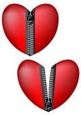 Hearts with zipper — Stock Vector