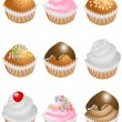 Set of cupcakes — Stock Vector