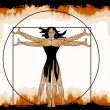 The Vitruvian woman — Stock Vector