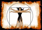 The Vitruvian woman — Stock Vector