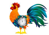 Cock with alarm clock — Stock Vector