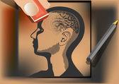 Brain wash. artist wipes human brain with eraser — Stock Vector
